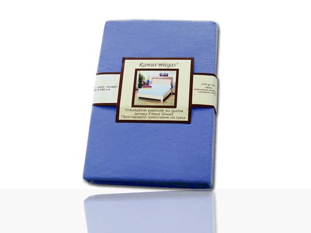 Простынь на резинке трикотажная (синяя) 90х200 см