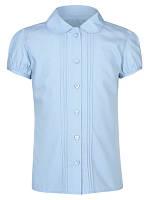 Школьная блузка голубая короткий рукав на девочку 5-6-7 лет Pintuck George (Англия)