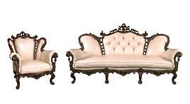Набор кожаной мебели Элия с доп.резьбой (3+1)