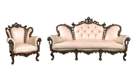 Вишуканий набір шкіряних меблів Ізабелла (3+1), фото 2