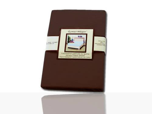 Простынь на резинке трикотажная (темно-коричневая) 140х200