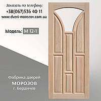 Комнатные двери из массива сосны с окошком для стекла в форме арки, модель М12/1
