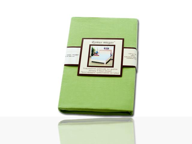 Простынь на резинке трикотажная (зеленая) 140х200 см