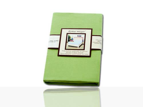 Простынь на резинке трикотажная (зеленая) 140х200