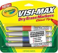 Маркеры сухостираемые Visi-Max для флипчартов, досок, мольбертов, 4 цвета, Crayola (Крайола)