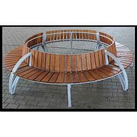 Лавка садово-парковая со спинкой круглая №18