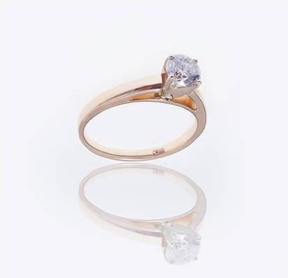 Золотое кольцо с бриллиантом  С28Л1№7