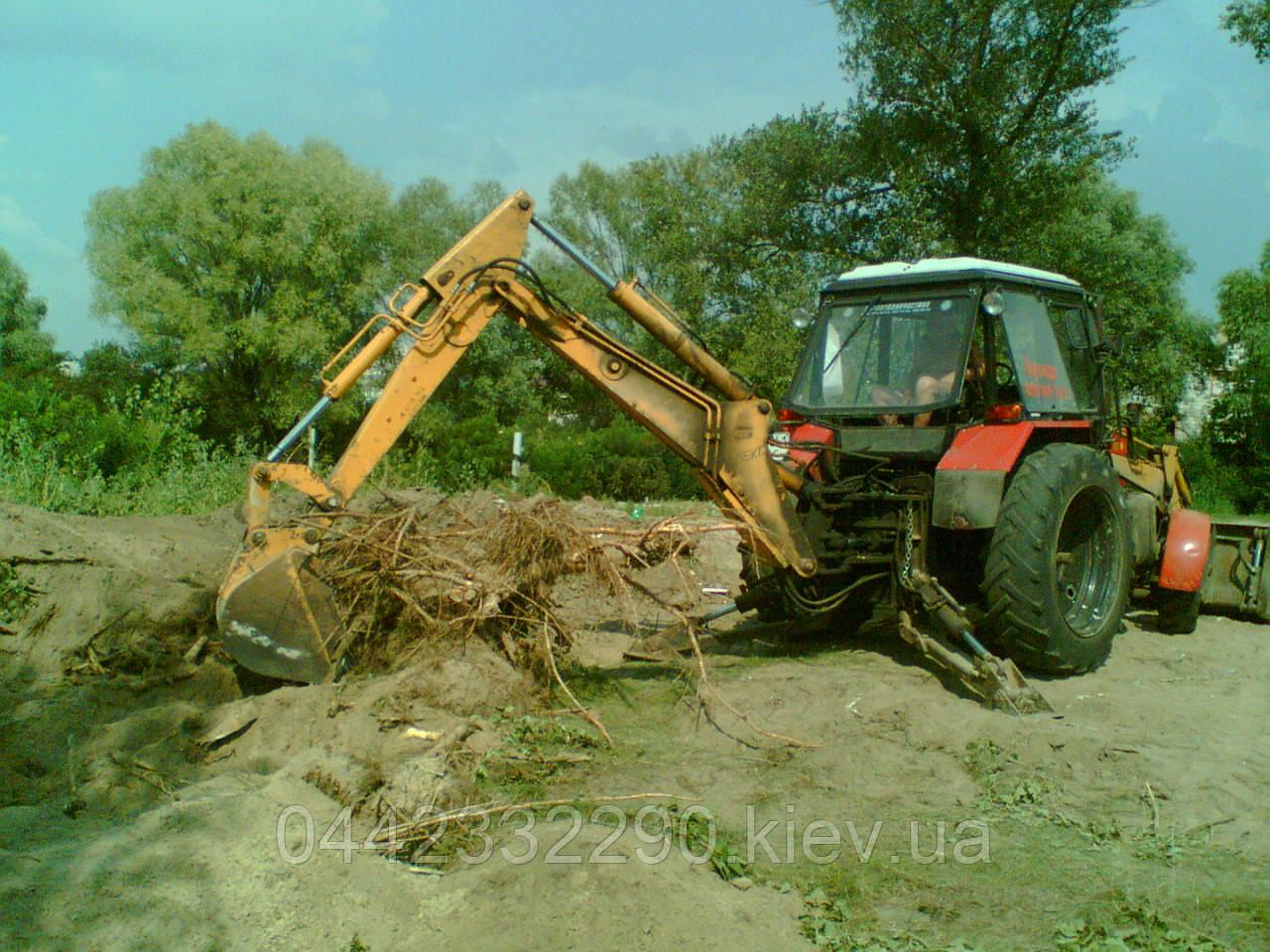 Удаление пней техникой - Корчевка пня трактором - экскаватором