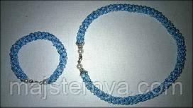 Комплект намисто + браслет з бісеру блакитного кольору, ручна робота, жіноча прикраса аксесуар