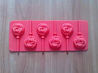 Форма силиконовая для конфет на палочке Розочки