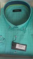Мужская рубашка норма DERGI с коротким рукавом приталенная код 7041-1