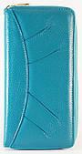 Яркий кожаный бирюзовый женский кошелек SALFEITE art. 12180