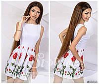 Летний сарафан белый с цветочным принтом