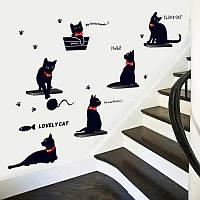 Наклейка виниловая Чёрные кошки 3D декор