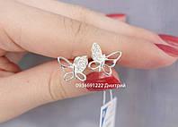 Серебряные гвоздики Бабочки на закрутке