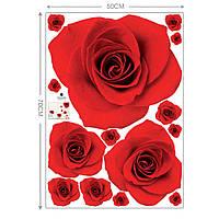 Наклейка виниловая Розы красные 3D декор