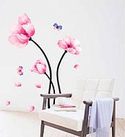 Наклейка виниловая Цветы розовые 3D декор