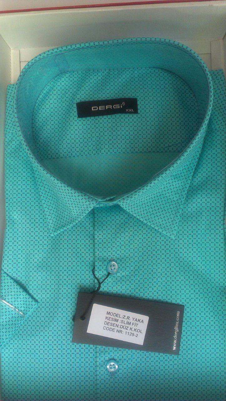Мужская рубашка норма DERGI с коротким рукавом приталенная код 1129-2