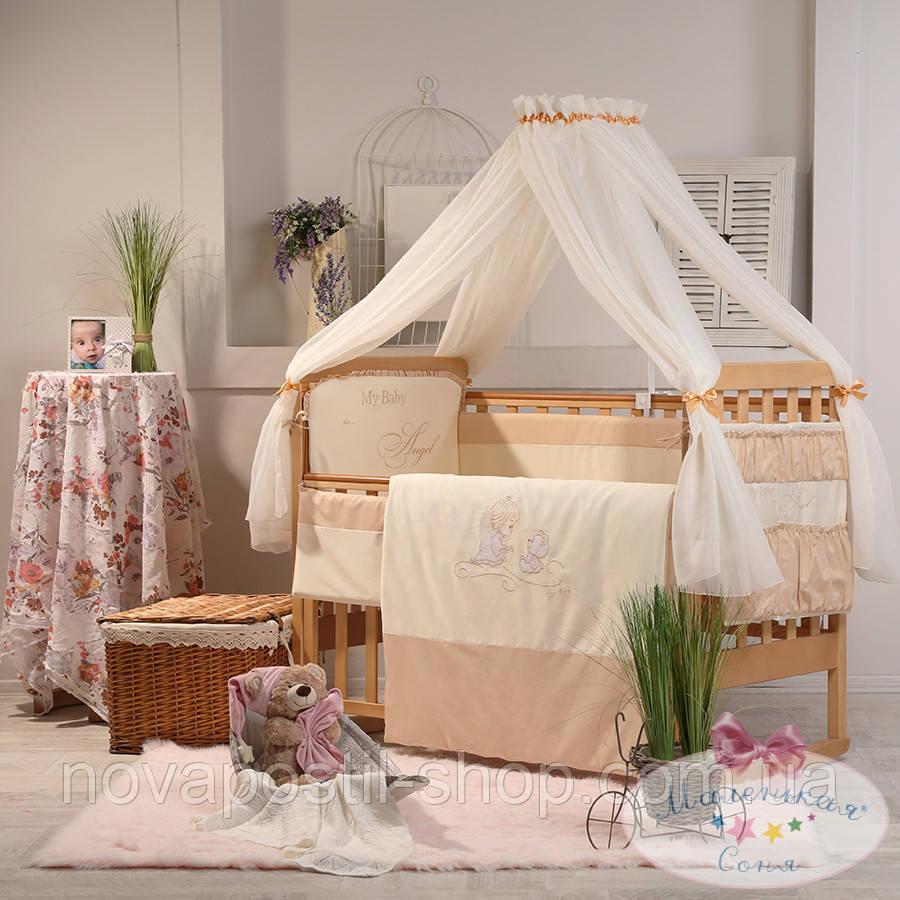 Набор в детскую кроватку Ангел шоколадный (7 предметов)