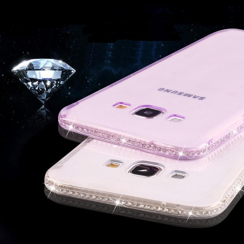 Чехол для Samsung J7 J700 силиконовый ободок со стразами