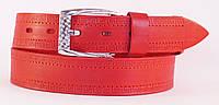 Красный мужской ремень под джинсы MASKO кожа