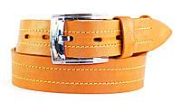 Оранжевый мужской ремень под джинсы из натуральной кожи MASKO кожа