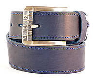 Кожаный ремень мужской под джинсы MASKO синий
