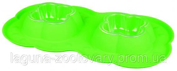 Миски для собак и кошек пластик. с силиконовым поддоном 2*0,2л/42*23см