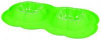Миски для собак и кошек пластик. с силикон.поддоном 2*0,2л/42*23см