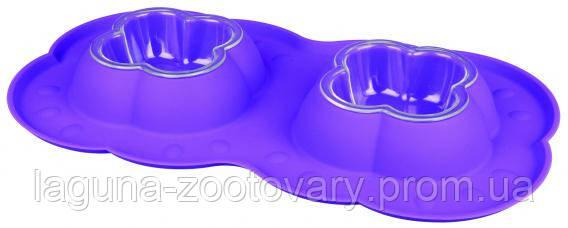 Миски для собак и кошек пластик. с силиконовым поддоном 2*0,2л/42*23см , фото 2