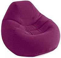 Надувное велюровое кресло Intex 127х122х81 см бордовое