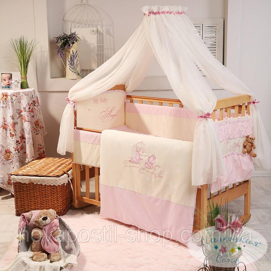 Набор в детскую кроватку Ангел розовый (7 предметов)