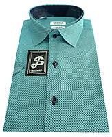 Классическая  рубашка с коротким рукавом № 10-26 ткань14143 б, фото 1