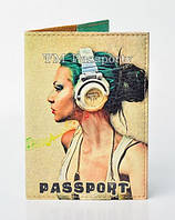 "Обложка на паспорт ""Девушка в наушниках"""
