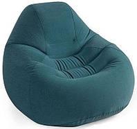 Надувное велюровое кресло Intex 127х122х81 см зеленое