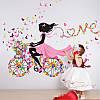"""Виниловая наклейка на стену """"Фея на велосипеде Love"""" 1,4 м"""