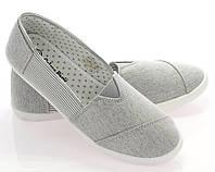 Женские балетки, лодочки туфли  текстильные серого цвета  размеры 38-40