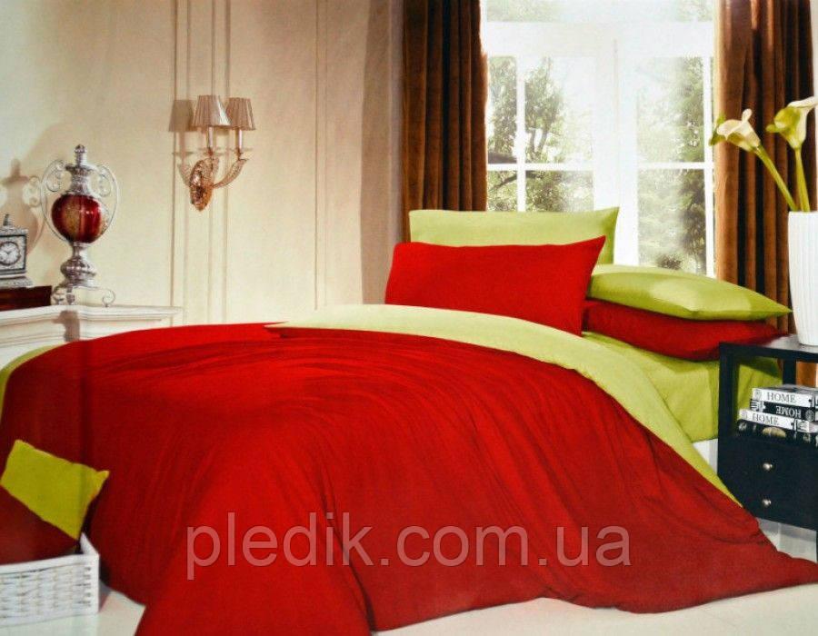 Однотонное двуспальное евро постельное белье сатин Делюкс Prestij Textile