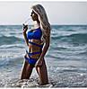 Женский стильный синий купальник с разрезами