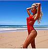 Женский модный слитный красный купальник
