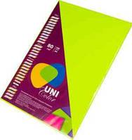 """Цветная офисная бумага """"UniColor"""" А4. 80г (100л) Neon Green"""