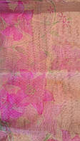 Антимоскитная сетка на магнитах в дверной проем, бежевая с цветами, 100*210 см