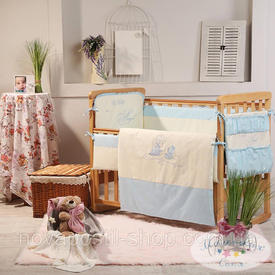 Набор в детскую кроватку Ангел голубой (6 предметов)