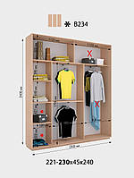 Шкаф-Купе Виват  В 234* В. 220 см., Гл. 45 см., Ш. от 221 до230