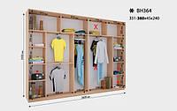 Шкаф-Купе Виват  ВН 364* В. 240 см., Гл. 45 см., Ш. от 351 до360