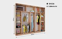 Шкаф-Купе Виват ВН 336* В. 240 см., Гл. 60 см., Ш. от 321 до330