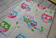 Лоскут ткани №133 цветные совы на голубой ветке расположенные на белом фоне..