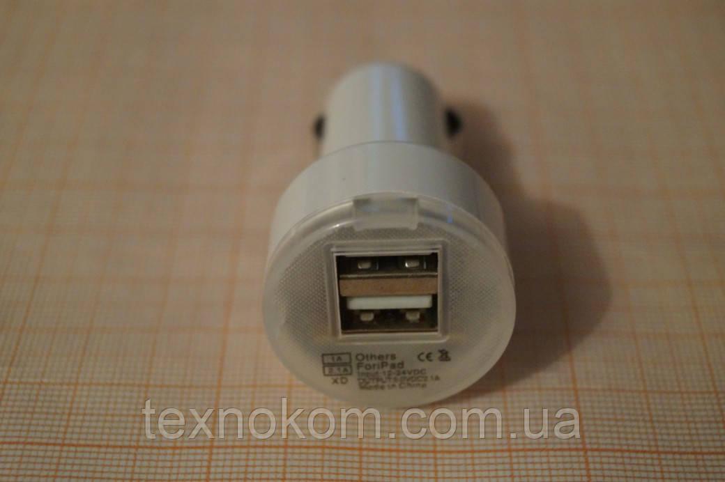 Блок живлення автомобільний прикурювач 2 USB 5V1A+2,1 А, білий