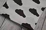 Лоскут ткани №156  с чёрными тучками на белом фоне, размер 26*80 см, фото 2