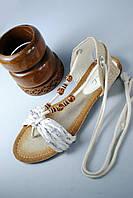 Босоножки женские белые, лен 38